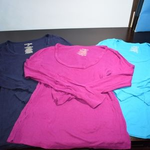 3 Old Navy Scoop Neck Long Sleeve T-Shirts Small
